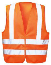 Warnschutzweste KARL, orange, Klettverschluss, Schulterreflex