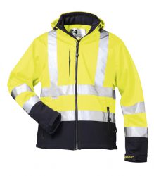 Warnschutz-Softshell Jacke mit Kapuze, gelb, Reflexmaterial 3M
