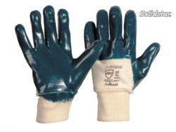 Nitril blau Strickbund robuster Handschuh starke Nitril-Beschichtung