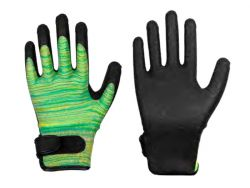 Feinstrick-Handschuh mit HPT-Beschichtung grün/gelb