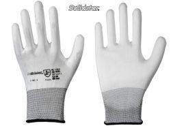 Feinstrick-Handschuh weiß mit PU-Beschichtung