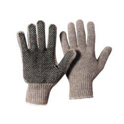 Baumwoll-Strickhandschuh Herrengröße Grau Benoppung