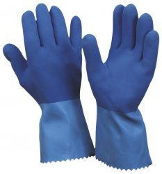 Latex-Handschuh Super-Blue rough / CE CAT3 / raue Handfläche m. BW-Strickfutter / 30 cm