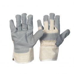 Vinyl-Handschuh / verstärkt / Größe 10 / grau/weiß / Innenhand gefüttert / Stulpe