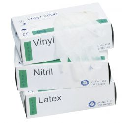Einweg-Handschuh aus Vinyl / gepudert / Spenderbox á 100 Stück