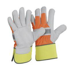 TOP-Rindnarbenlederhandschuh (HiVi) / natur / mit Neonhandrücken u. -stulpe / CE CAT 2 / Größe 10