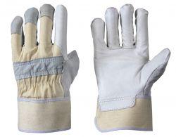 Büffelnarbenleder-Handschuh / gefüttert / Spaltleder Handrücken / gummierte Stulpe