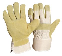 Jumbo-CBWA / Rindspaltlederhandschuh / Farbe: gelb / gefüttert / Größe 12