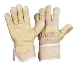 PAWA / Schweinsnarbenlederhandschuh / Damengröße / Farbe: gelb / gefüttert