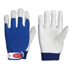 Schaf-Nappaleder-Handschuh / Klettverschluss / blauer Baumwollrücken