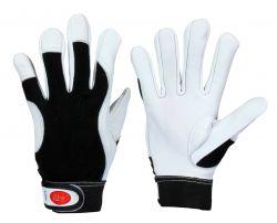 Ziegen-Nappaleder-Handschuh / Premium / Klettverschluss + schwarz. Baumwollhandrück.