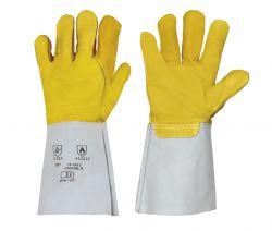 Nappaleder-Handschuh / gelb / 35 cm / Spaltlederstulpe / CE CAT 2