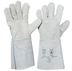 5-Finger-Spaltlederhandschuh / natur / Länge 35 cm / CE CAT 2 / EN 12477 A+B