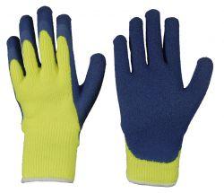 Thermo-Polyacryl-Schlingenhandschuh / CAT 2 / mit schrumpfgerauter blauer Latex-Beschichtung