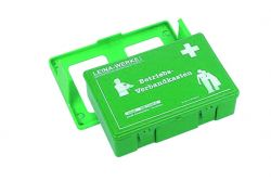 Betriebsverbandkasten in grün, DIN 13157-C mit Wandhalterung, Maße:25,5 x 16,6 x 8 cm