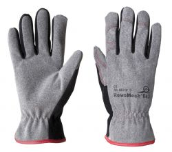 Handschuhe RewoMech 643, Kunstleder, Stulpe. - grau/schwarz